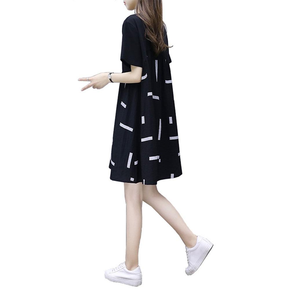 Летний пуловер большого размера, изящное свободное элегантное платье с круглым вырезом и коротким рукавом, модное повседневное женское пла...