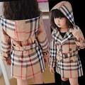 Freeshipping,2014 Style Children's cotton long sleeve outerwear fashion brand baby girls plaid hooded jacket kids coat with belt