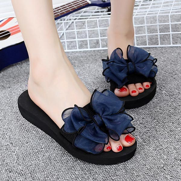 2018 New Sweet Summer Women Slippers Gauze Bowknot Flat Anti Skid Beach Casual Shoes Gir ...