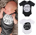 0-24M Newborn Infant Baby Clothes Bodysuit Summer Short Sleeve Hello World Baby Boys Girls Playsuit Bebes White Bodysuits