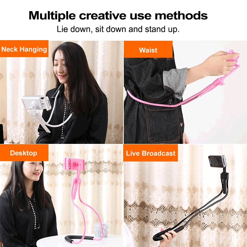 Flexible Mobile Phone Holder Hanging Neck Lazy Necklace Bracket Bed 360 Degree Smartphone Holder Stand For iPhone Xiaomi Huawei in Phone Holders Stands from Cellphones Telecommunications