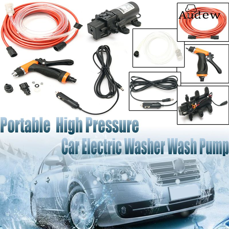 Universal 12V Portable 100W 160PSI High Pressure Car Electric Washer Washing Machine Cigarette Lighter Water Pump Kit  цены