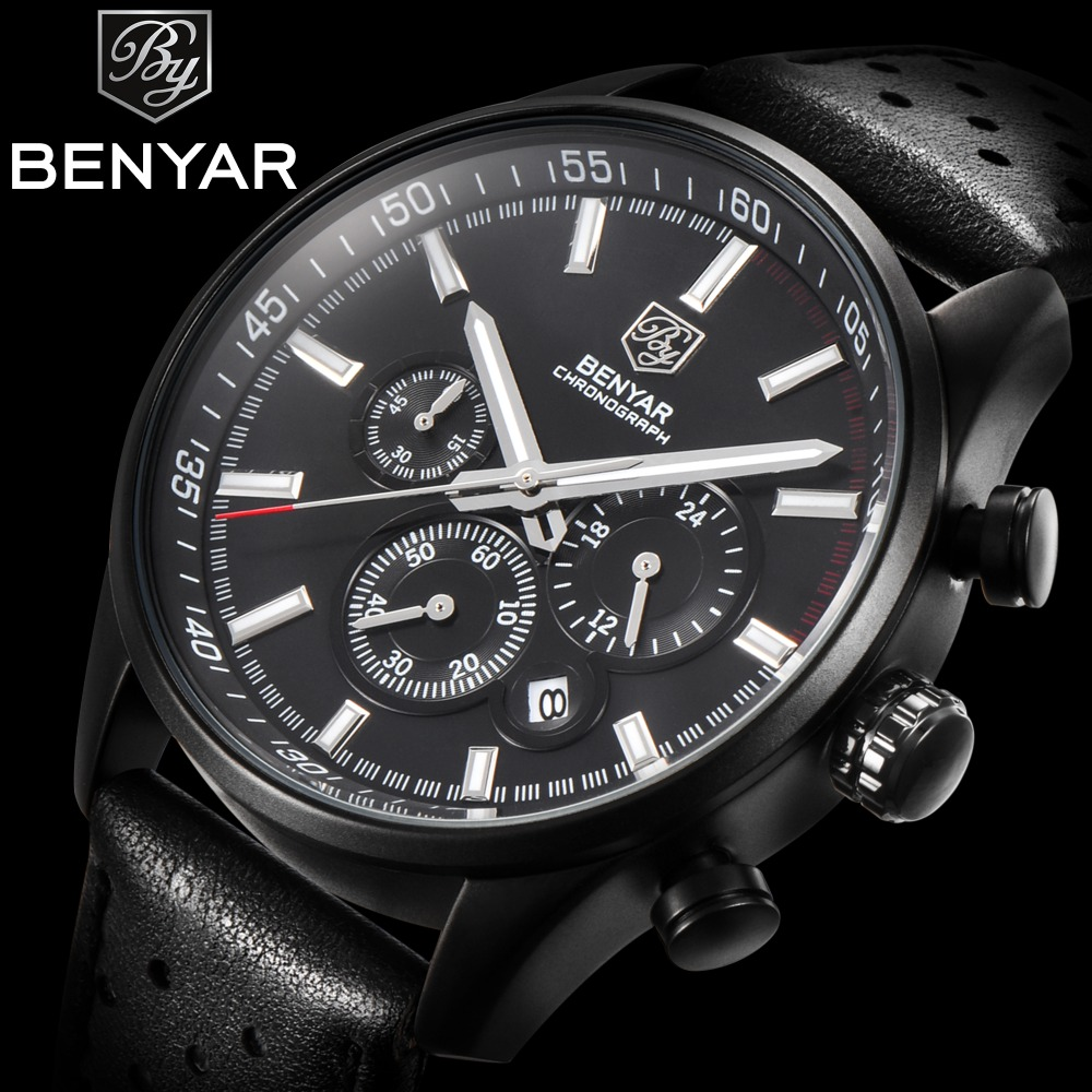 BENYAR Top Brand Watch Men Waterproof Leather Quartz Wristwatches Chronograph Date Sport Watches Relogio Masculino Male Clock женские часы tokyobay tram t105 bu