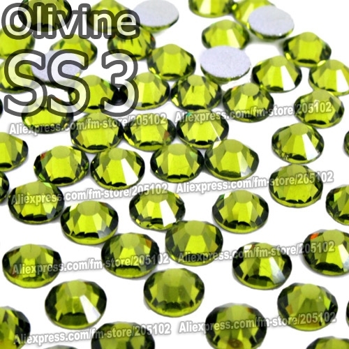 SS3 1.4mm Olivine Nail Rhinestones 1440pcs/bag Non HotFix FlatBack Crystals glass strass Glitters for nail Art glue on stone