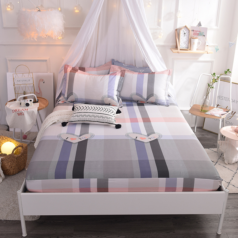 (New On Product) 1pcs 100% Cotton Printing bed mattress set with four corners and elastic band sheets(pillowcases need order)