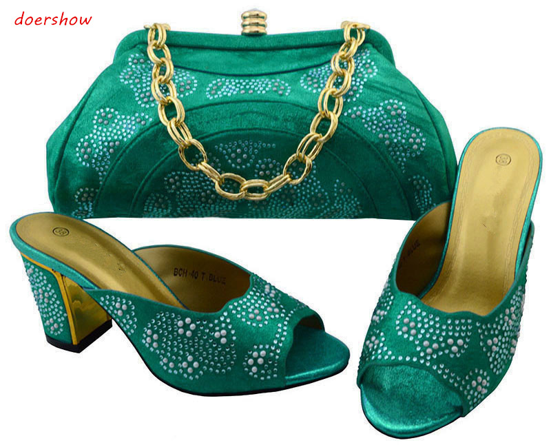 doershow Matching Italian Shoes and Bag Set African Women Matching Italian Shoe and Bag Set Italian Shoes with Bags  BCH1-68 doershow italian shoe with matching bag silver african shoe and bag set new design matching shoes and bags for party bch1 6