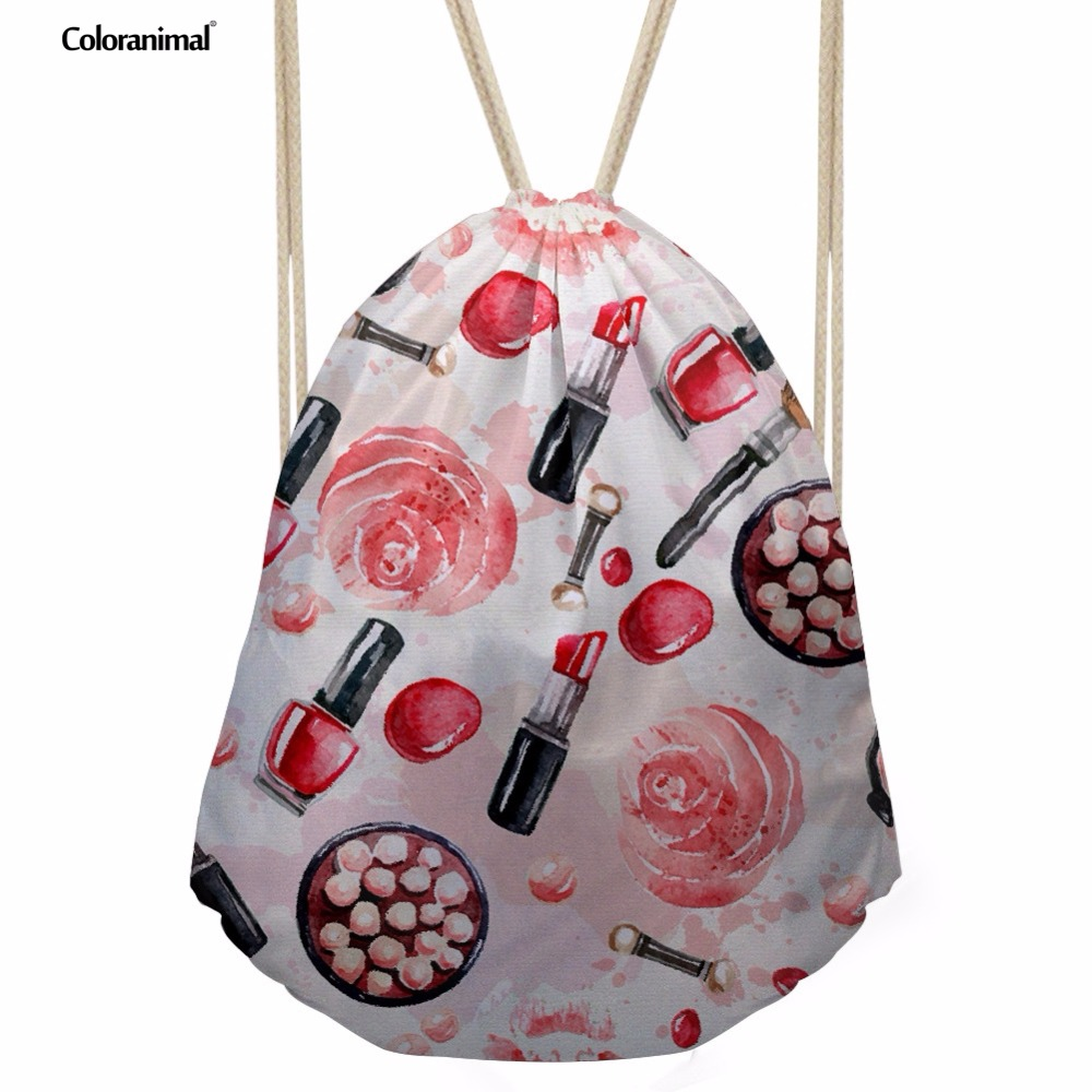 Coloranimal Chinese Stylish Cartoon Reds Lips Rice Dumpling Printing Women Men Backpack School Bags Drawstring Bags For Girl Boy