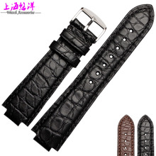 Alligator Leather Watchband male adapter convex mouth watch 21 12mm watch with black brown