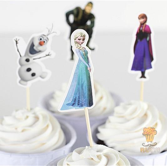 24 Pcs Princess Elsa Anna Cup Cake Topper Pick Snow Queen Olaf Food Picks