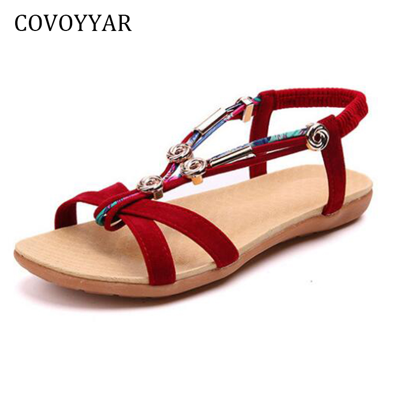 COVOYYAR 2018 New Bohemia Beaded Women Sandals Elastic Band Soft Flat Women Shoes Summer ...