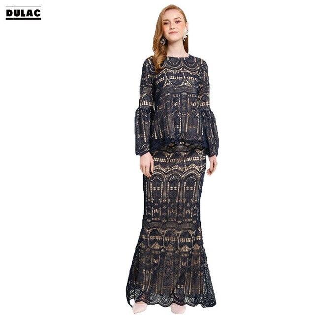 Advanced Customization Wholesale Middle East OEM Women Fashion O-Neck Full Lace  Dress Lady Elegant Clothing Islamic Baju Kurung dce16b079cfe
