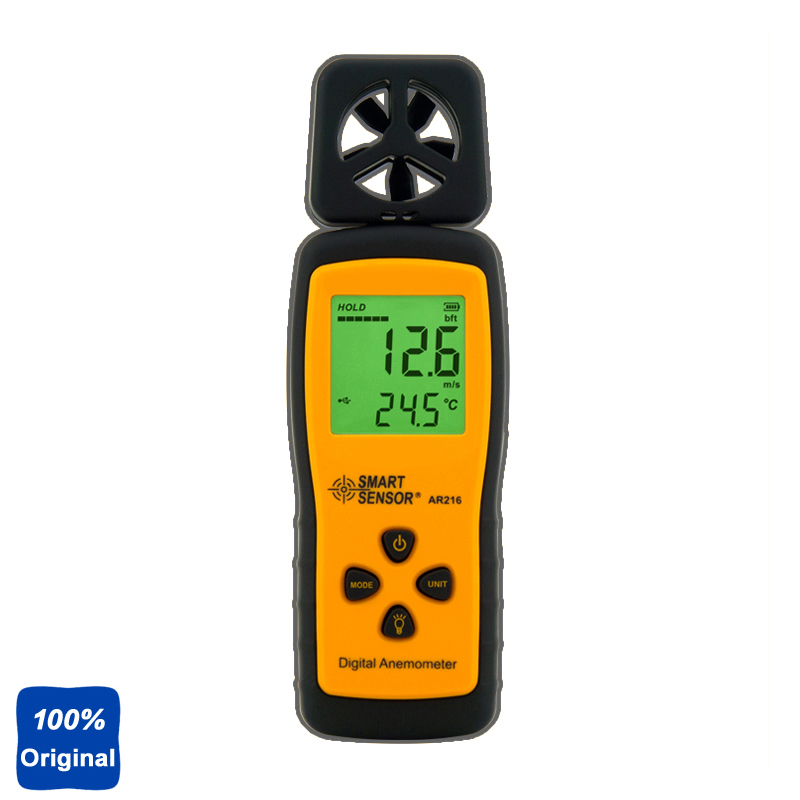 100% Original AR216 Digital Anemometer Wind Speed Meter Wind Tester ar216 air flow anemometer digital wind speed meter tester