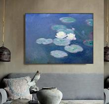 Water Lilies Evening by Monet Posters and Print Canvas Painting Calligraphy Wall Pictures for Living Room Bedroom Home Decor