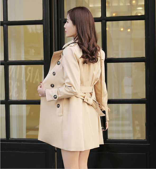 Autumn medium-long Trench Coat for Women Fashion Slim Double Breasted wind-breaker Female British style OverCoats plus size