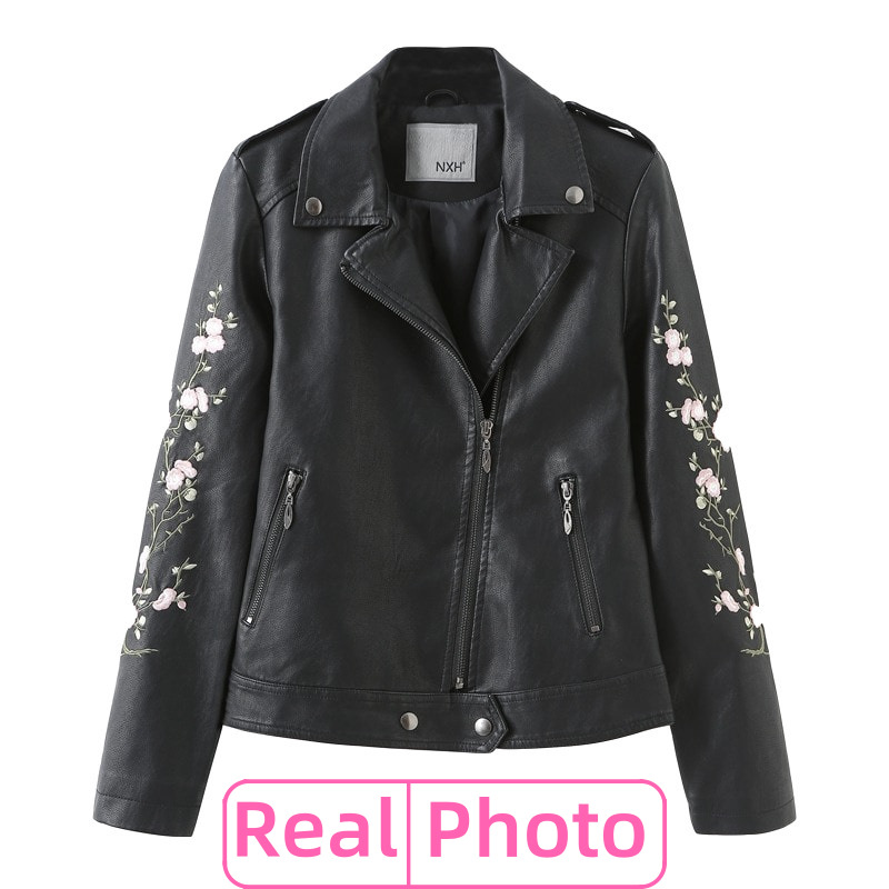 Real photo Women Punk Clasic zipper Leather jacket Autumn Winter Good Quality Motorcycle Embroider Black PU