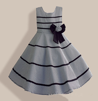 6 10Y Girls Clothes Gray Plaid Candy Bow Black Striped Party Summer Dress Kids Clothing