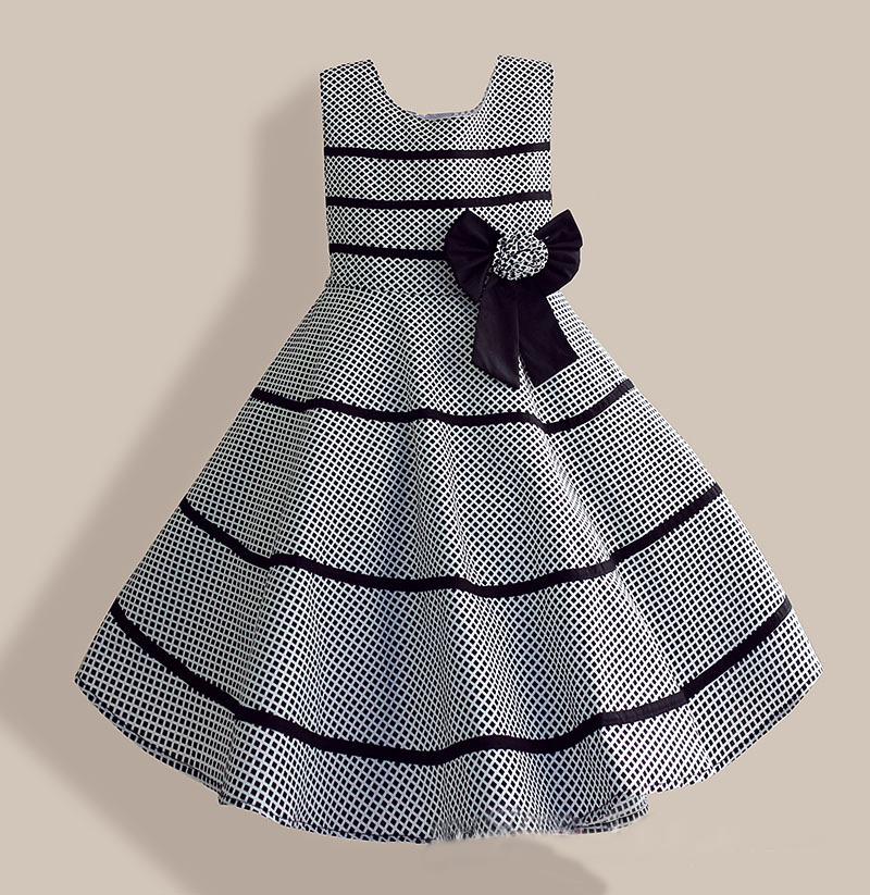 6-10Y Girls Clothes Gray Plaid Candy Bow Black Striped Party Summer Dress Kids Clothing