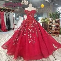 AXJFU Luxury princess red flower boat neck vintage wedding dress beading rose red strapless wedding dress 100% real photo 14650