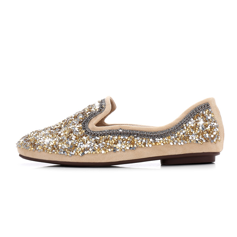 Casuales Apricot De Planos Primavera 2017 negro Sapato Mocasines Bling Zapatos Holgazán Mujer Ballet Otoño wA7BCq