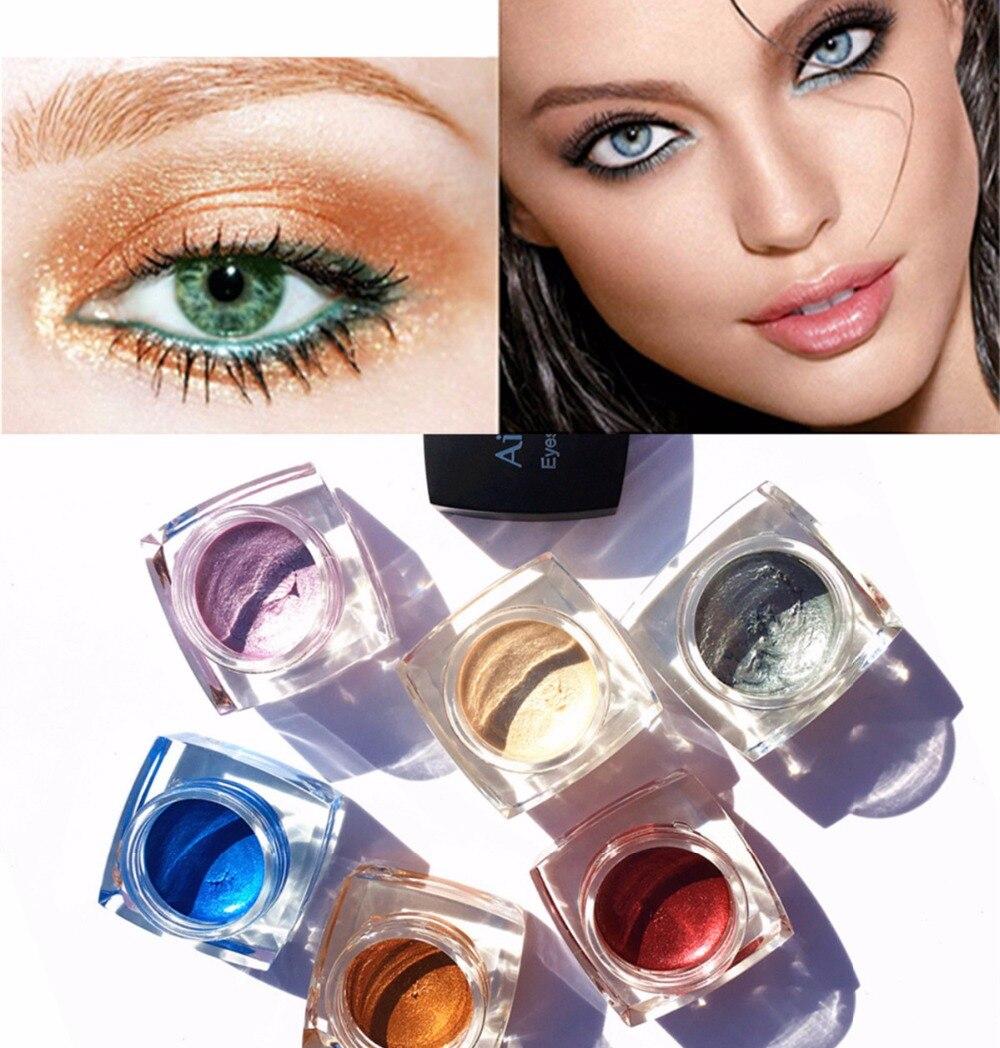 Beauty & Health Aigomc Metallic Eyeshadow Cream Waterproof Long Lasting Gold Blue White Shimmer Eyeshadow Highlighter Smoky Eyeshadow Hf086