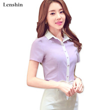 Lenshin Cotton Shirt Gaya Kasual New Fashion Lengan Pendek Blus Kontras Collar Tops Wanita Musim Panas Wear