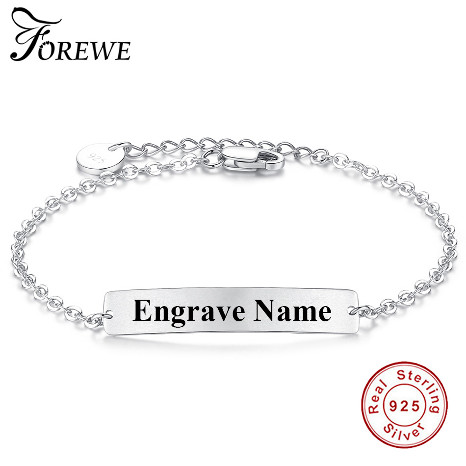 Authentic 925 Sterling Silver Engrave Name Charm Bracelets For Women Men Couple Jewlery Custom Bracelet & Bangle Fashion Jewelry ...
