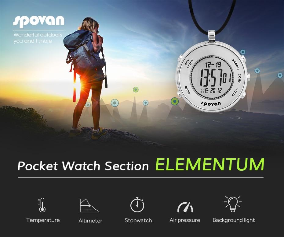 Montre de sport de plein air multifonctionnelle, chronomètre d'alarme temps de compte à rebours monde, boussole altitude baromètre montre de poche