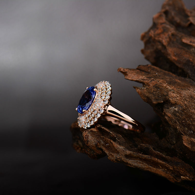 caee7d761 Genuine Blue Tanzanite Ring Real Diamonds In Solid 18K Rose Gold ...