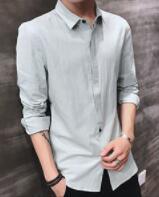 Camisa de manga larga hombre guapo de cuerpo delgado de primavera y otoño de los jóvenes de color puro casual de los hombres jóvenes camisa. dbg-E3