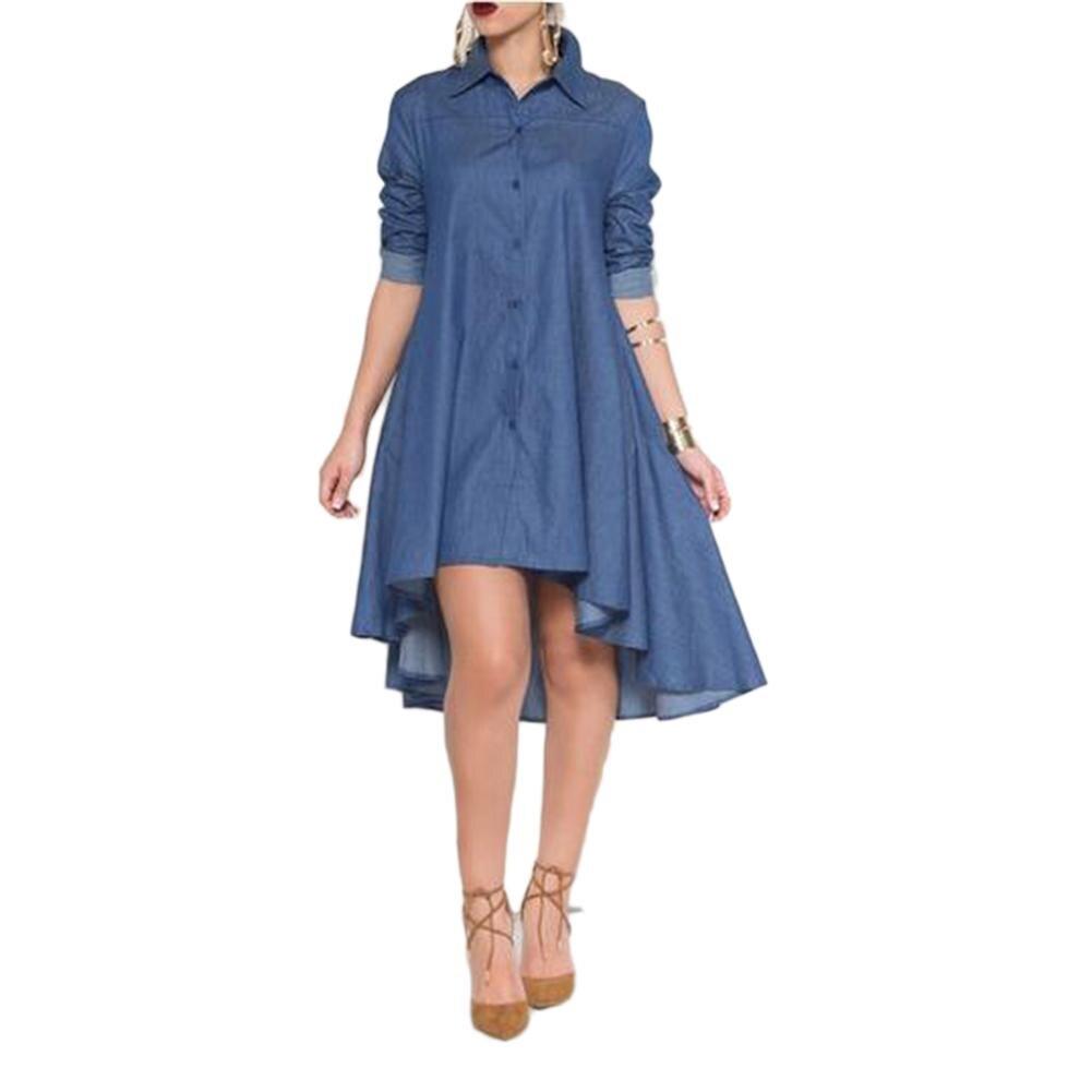 Women Denim Shirt Mermaid Dress High Quality Autumn Dress Clothing Plus Size Women Jeans slim Cowboy Casual Dress vestidos