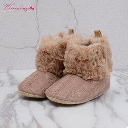 Weixinbuy inverno recém-nascido menina sapatos de bebê manter quente walker infantil criança princesa berço neve tricô espólio