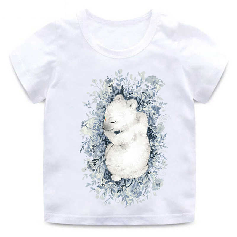 Anak Piyama Cetak Kartun T-shirt Anak Laki-laki Gadis Kasual Lucu Fox Lengan Pendek Anak-anak Lucu Putih Leher Bulat kapas