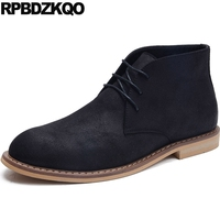 Vintage Boots Retro Suede 2017 Ankle Short Men's Shoes Booties Lace Up High Top Fall Black Comfortable Male Fashion Footwear