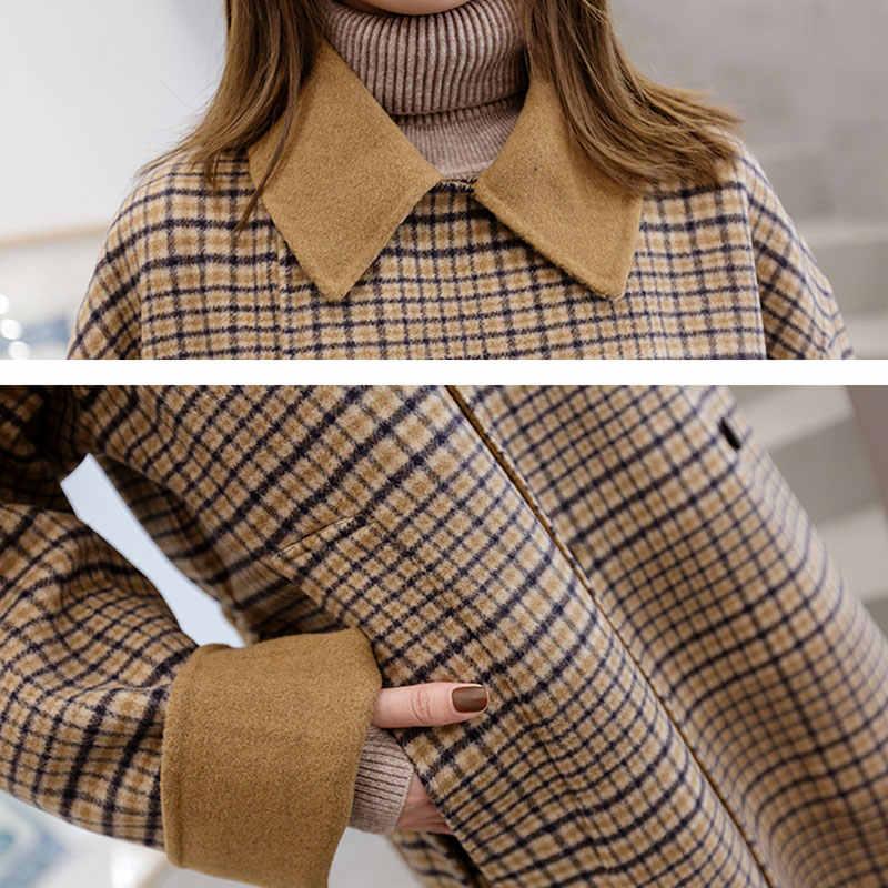 Клетчатое зимнее шерстяное пальто в стиле Харадзюку, большие размеры, женские длинные пальто, новинка 2018, высокое качество, свободная Женская шерстяная куртка, casaco feminino Z529