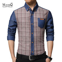 Alta calidad 2017 moda de nueva hombres Casual denim jean camisas de Los Hombres camisa a cuadros de manga larga Camisa chemise homme camisas masculina(China (Mainland))