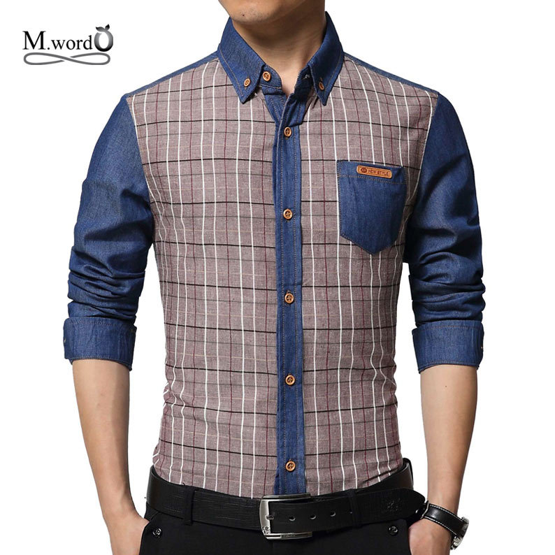 high quality 2017 fashion new men Casual denim shirts Men's jean plaid shirt long sleeve Shirt chemise homme camisas masculina
