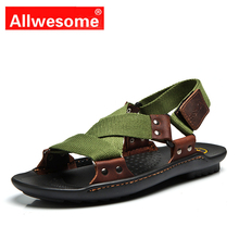 Allwesome New Fashion Summer Beach Designers Sandasl Genuine Leather Sandals Men Causal Solid Shoes Zapatos Sandalias Hombre