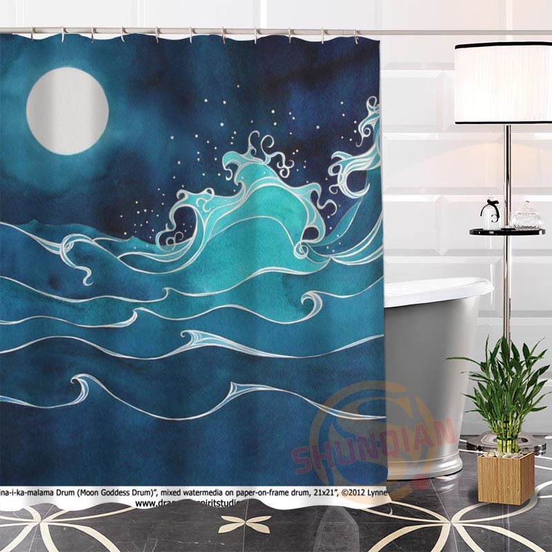 hot new ecofriendly custom unique wave background modern shower curtain bathroom waterproof for yourself h022086
