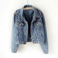Осенние короткие джинсовые куртки с бусинами, большие размеры 3Xl 5Xl, Женская винтажная Повседневная джинсовая куртка с длинным рукавом, джин...