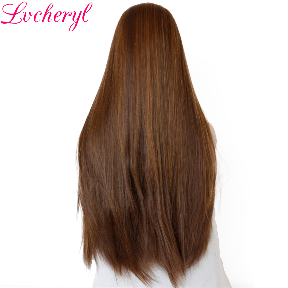 Lvcheryl High Temperature Fiber Dark Brown Highlight Long Straight Hand Tied Heat Resistant Hair Synthetic Lace Front Wigs-in Synthetic None-Lace  Wigs from Hair Extensions & Wigs    3