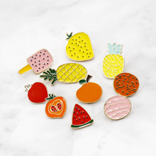 Fashion Mini Fruit Brooch Pins Cartoon Cute Cat Banana Pineapple Watermelon Cherry Enamel Pin Brooches Hat Denim Collar Badge