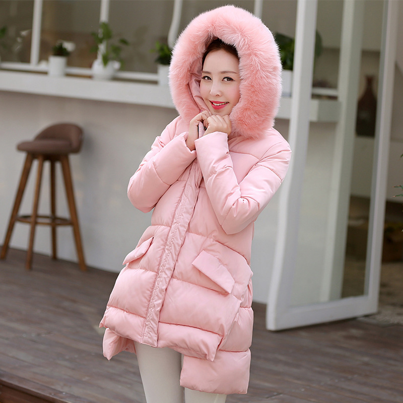 ФОТО Winter Warm Women Coat Fashion Big Soft Fur Hooded Women's Down Cotton Coat Woman Padded Cotton Thicken Outwear Female Clothing