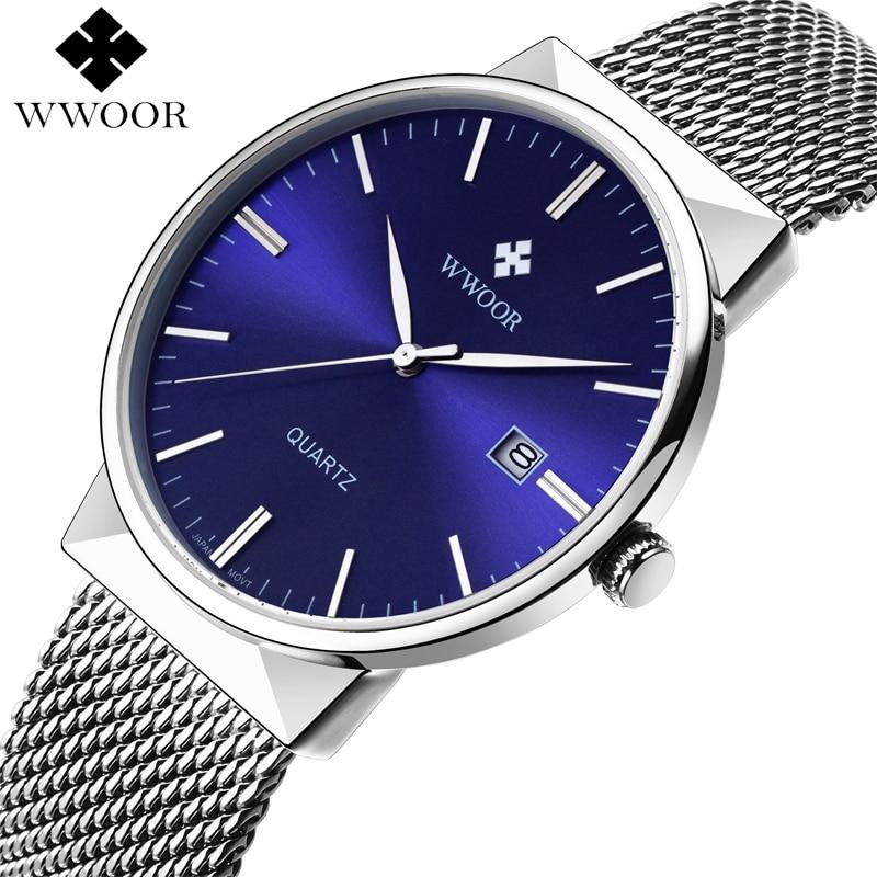WWOOR Brand Luxury Men Waterproof Business Watch Men's Quartz Sports Watches Male Stainless Steel Clock Blue relogio masculino