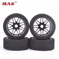 4 pces 1/8 pneus de espuma de corrida & roda de náilon 17mm hex para hsp hpi na estrada acessório do carro
