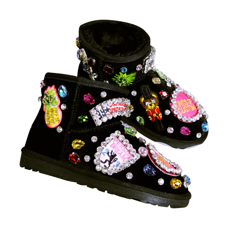 Cow Suede Winter Shoes Woman Shiny Crystals Warm Fur Flat Snow Boots 2018 Handmade Bling Rhinestones Ankle Boots Women Big Size