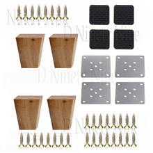 Oak Wood 80x58x38MM Wooden Furniture Cabinet Leg Right Angle Trapezoid Feet Lifter Replacement for Sofa Table Bed Set of 4