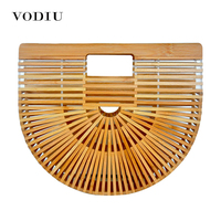 Women Handbag Female Big Travel Vacation Totes Bamboo Handbag For Ladies Handmade Woven Beach Bag Women