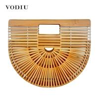 Women Handbag Female Big Travel Vacation Totes Bamboo Handbag For Ladies Handmade Woven Beach Bag Women