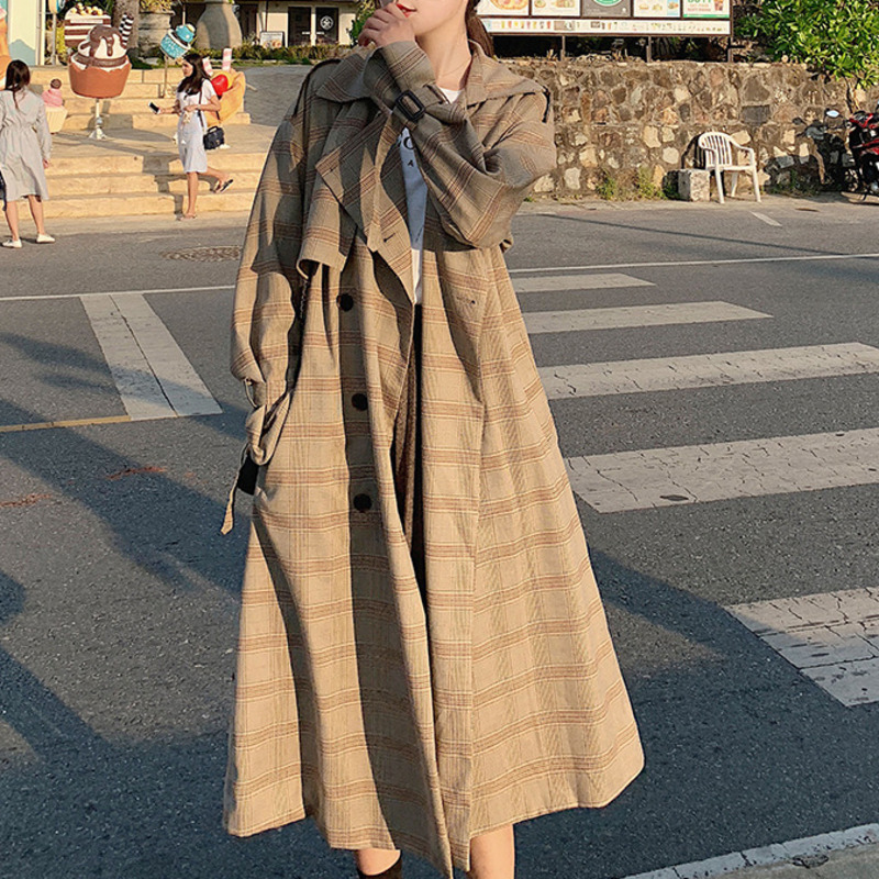 TVVOVVIN 2019 Autumn And Winter New Casual Fashion Women Coat Loose Plus Retro Lattice Double-breasted   Trench   Windbreaker C502