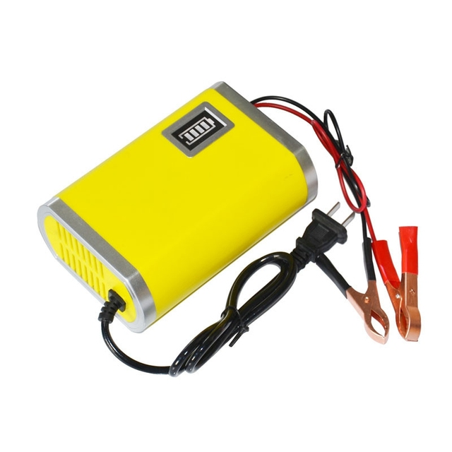 Motorcycle Car Auto 12V 6A Battery Charger Intelligent Charging Machine Yellow@012
